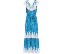 Lace-paneled Polka-dot Cotton-gauze Maxi Dress Blue