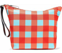 Origami gingham coated canvas clutch