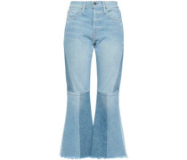 Frayed Faded High-rise Flared Jeans Light Denim  3