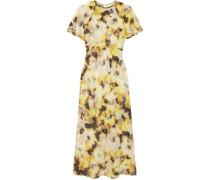 Acid Printed Cotton And Silk-blend Organza Midi Dress Yellow Size 12