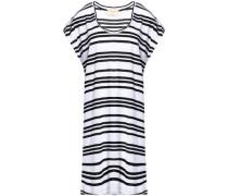 Draped striped linen-blend mini dress