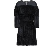 Chiffon-paneled devoré-velvet mini dress