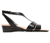 Woman Leather Wedge Sandals Black