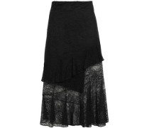 Asymmetric Layered Lace Midi Skirt Black Size 0
