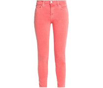 Cropped Coated Mid-rise Skinny Jeans Coral  3
