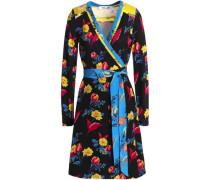 Paneled Printed Silk And Jersey Mini Wrap Dress Black