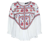 Embroidered cotton-gauze top