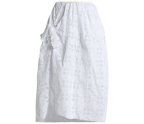 Wrap-effect knotted broderie anglaise cotton-blend midi skirt