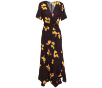 Floral-print Silk-crepe Wrap Dress Merlot Size 00