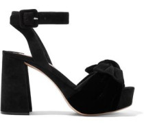 Bow-embellished Velvet And Suede Platform Sandals Black