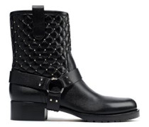 Rockstud Quilted Leather Ankle Boots Black