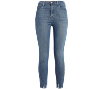 Distressed Faded High-rise Skinny Jeans Mid Denim