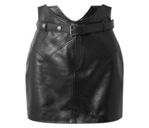 Woman Belted Leather Mini Skirt Black