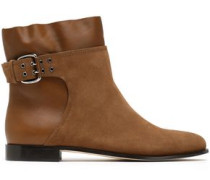 Major buckled suede and leather ankle boots
