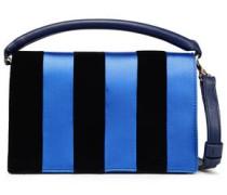 Striped Satin, Velvet And Leather Shoulder Bag Navy Size --