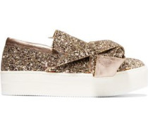 Knotted Glittered Leather Platform Slip-on Sneakers Gold