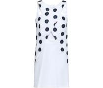 Cutout Embroidered Cotton-blend Mini Dress White