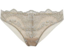 Embroidered Tulle Briefs Gold