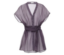 Bead-embellished Silk-organza Blouse Purple