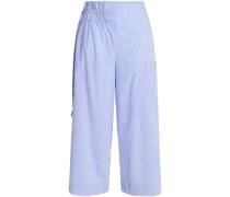 Gathered striped cotton-poplin wide-leg pants