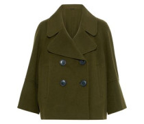 Edna Double-breasted Wool-felt Coat Army Green