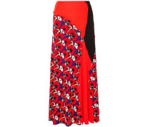 Woman Paneled Printed Jersey Maxi Skirt Tomato Red