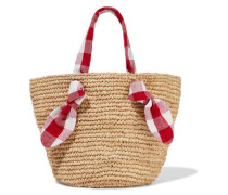 Hazel Gingham Canvas-trimmed Woven Straw Tote Red Size --
