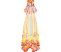 Ruffled halterneck silk dress