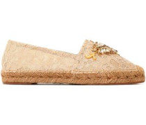 Embellished corded lace espadrilles