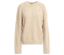 Faux Pearl-embellished Knitted Sweater Sand