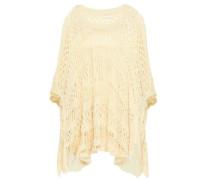 Asymmetric Pointelle-knit Cotton Poncho Ecru