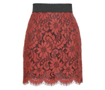 Cotton-blend Corded Lace Mini Skirt Brick