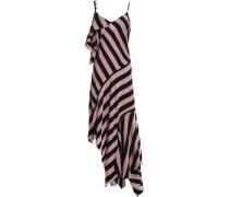 Asymmetric Embellished Striped Twill Dress Antique Rose