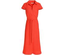 Belted Woven Midi Dress Papaya