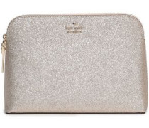 Glittered Faux Leather Cosmetics Case Gold Size --