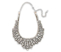 Woman Silver-tone, Crystal And Satin Necklace Silver