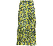 Hattie ruffle-trimmed floral-print crepe midi skirt