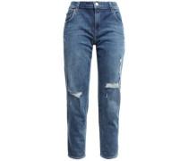 Distressed Faded Boyfriend Jeans Mid Denim  4