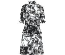 Shirred Printed Crepe De Chine Dress White