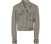 Embellished gingham cotton and wool-blend jacket