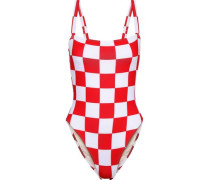 + Re/done The Malibu Checked Swimsuit Red