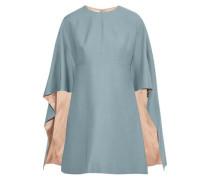 Cape-effect Wool And Silk-blend Cady Mini Dress Light Blue