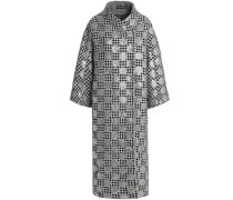 Glittered houndstooth wool-blend coat
