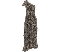 One-shoulder Ruffled Floral-print Georgette Maxi Dress Black Size 0