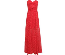 Cutout Twist-front Polka-dot Silk-georgette Gown Red