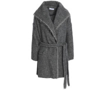 Belted marled knitted coat
