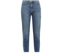 El Matador Cropped Crystal-embellished High-rise Slim-leg Jeans Mid Denim  3