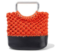 Woman Market Small Coated Macramé And Snake-effect Leather Tote Orange