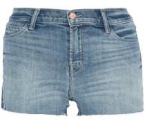 Patchwork-effect frayed denim shorts