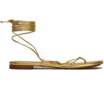Lace-up metallic leather sandals